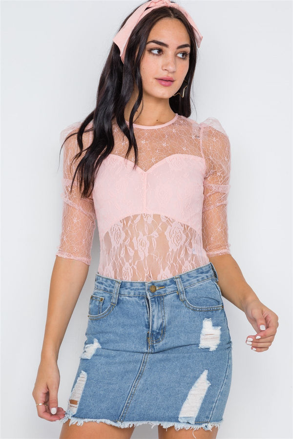 Floral Lace Combo Sheer Evening Bodysuit demochatbot