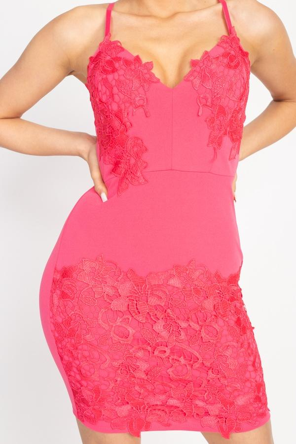Floral Lace Embroidered Mini Dress - Pinky Petals
