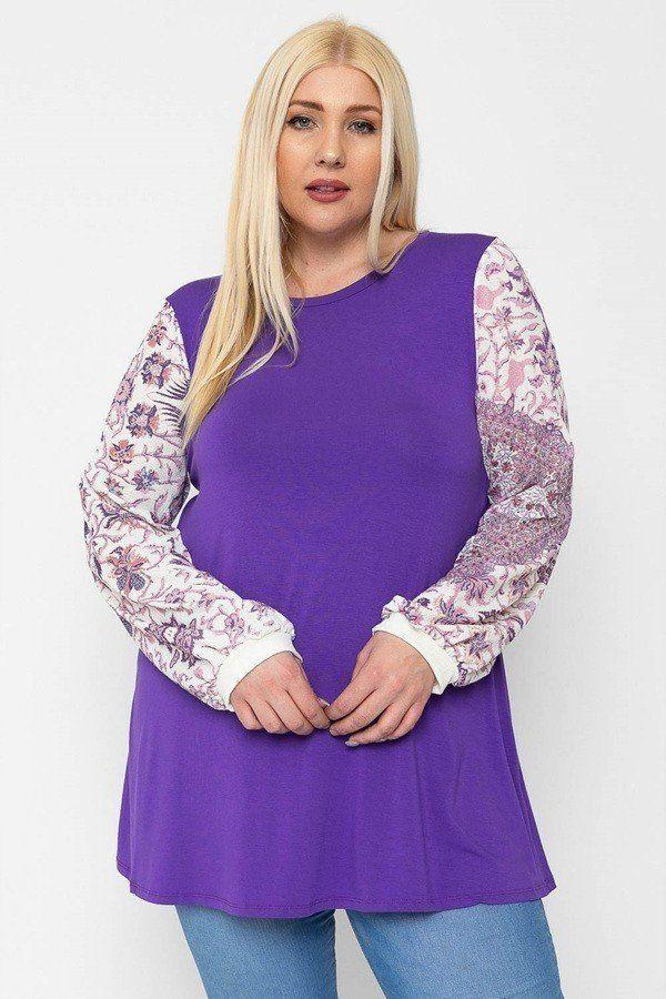 Floral Print, Contrasting Bubble Sleeves Tunic With A Round Neckline. demochatbot