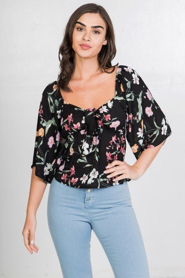 Floral Print Crop Top demochatbot