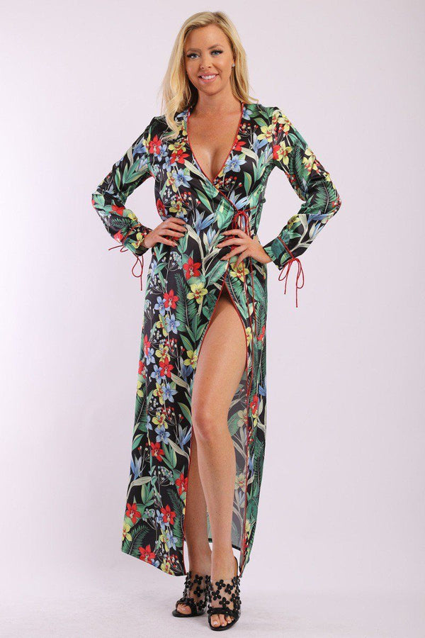Floral Print, Wrapped, Kimono Style, Satin Dress With Long Sleeves, High Front Slit And Decorative Trimming demochatbot Black XS