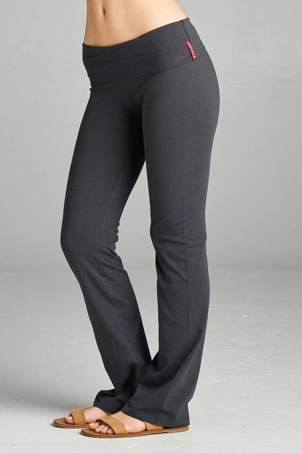 Full Length Leggings With Flare Bottom Detail And Fold Over Waist demochatbot