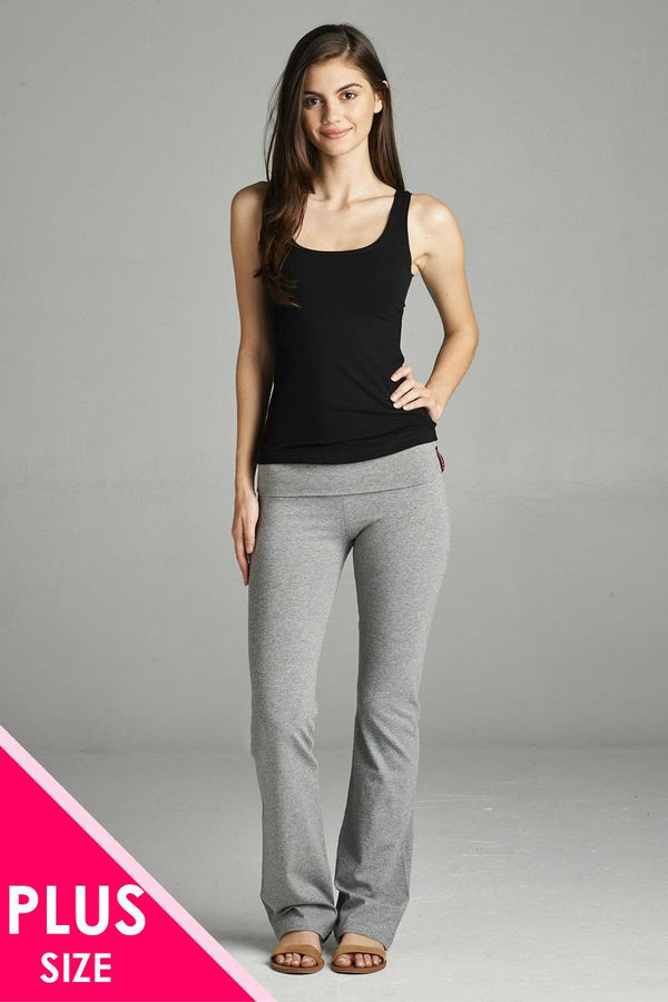Full Length Leggings With Flare Bottom Detail And Fold Over Waist demochatbot Heather Grey 1XL