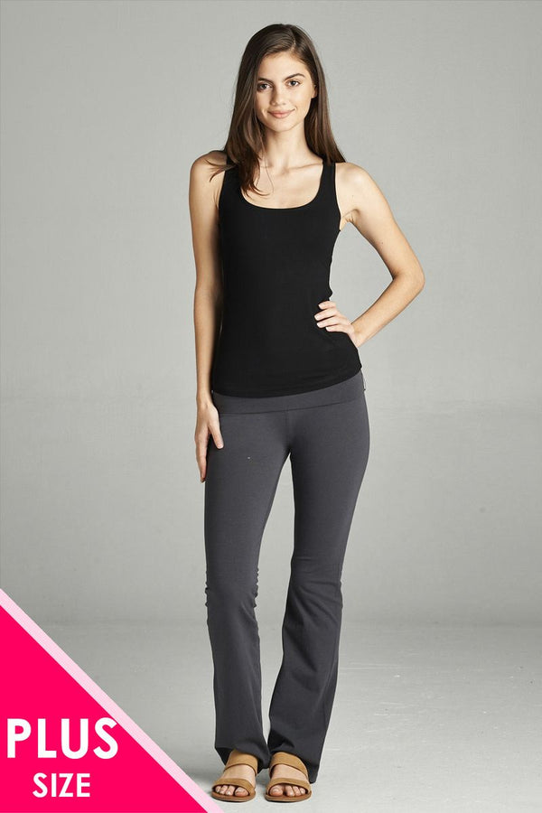 Full Length Leggings With Flare Bottom Detail And Fold Over Waist demochatbot New Charcoal 1XL