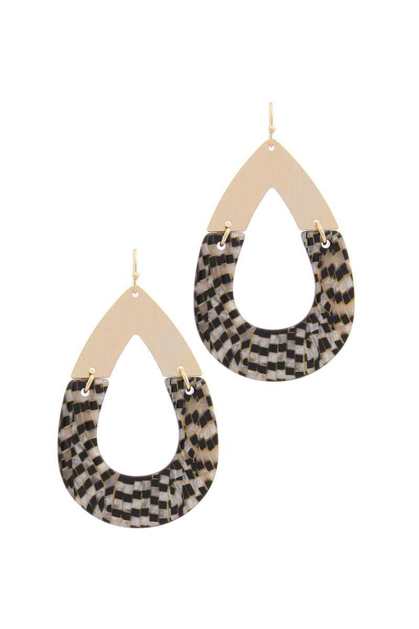Half Metal Half Pattern Teardrop Shape Earring demochatbot
