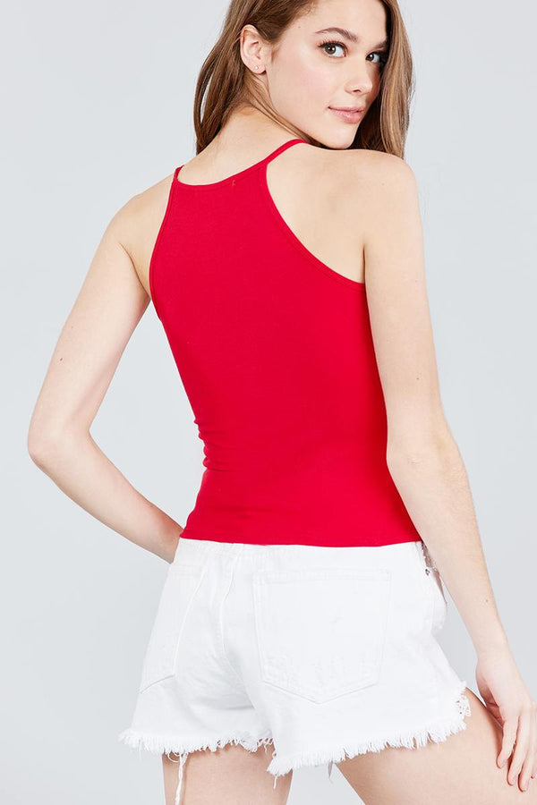 Halter Neck Color Block Knit Top demochatbot