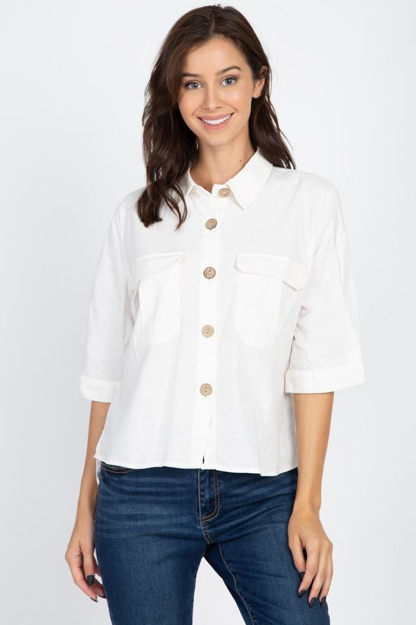 High Low Button Front Shirt demochatbot Off White S