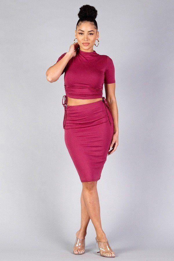 High Neck Short Sleeve Ruched Tee & High-waisted Midi Skirt Set demochatbot