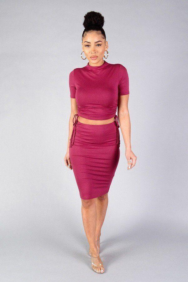 High Neck Short Sleeve Ruched Tee & High-waisted Midi Skirt Set demochatbot Marsala S
