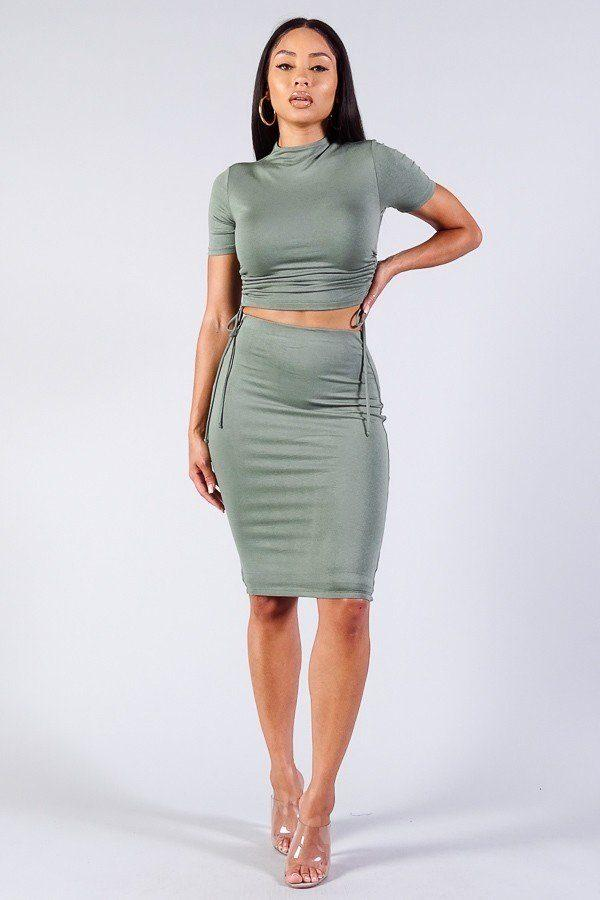 High Neck Short Sleeve Ruched Tee & High-waisted Midi Skirt Set demochatbot Olive S