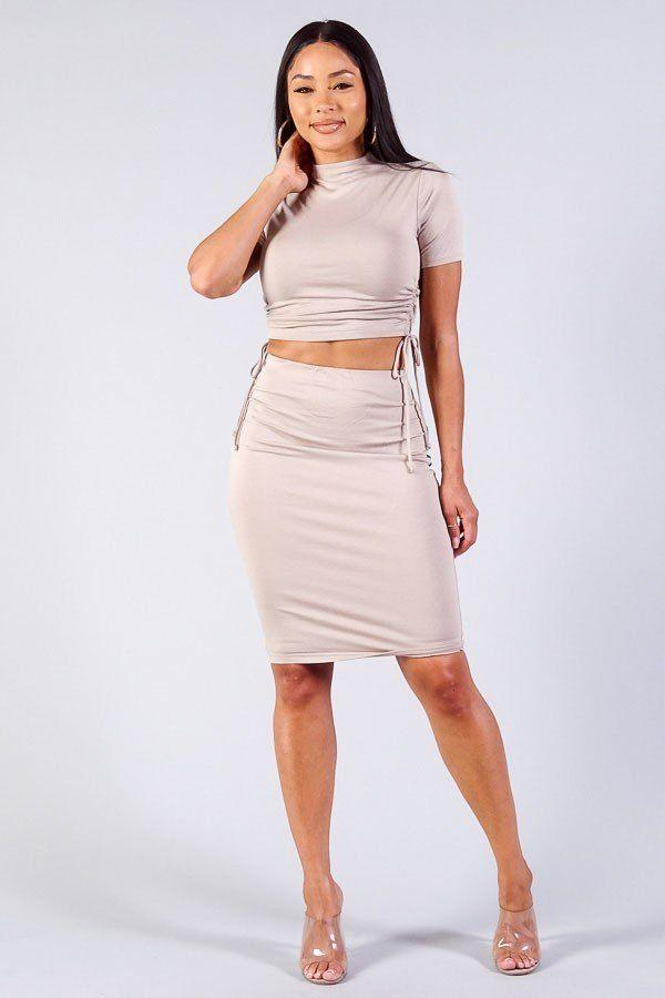 High Neck Short Sleeve Ruched Tee & High-waisted Midi Skirt Set demochatbot Toast S