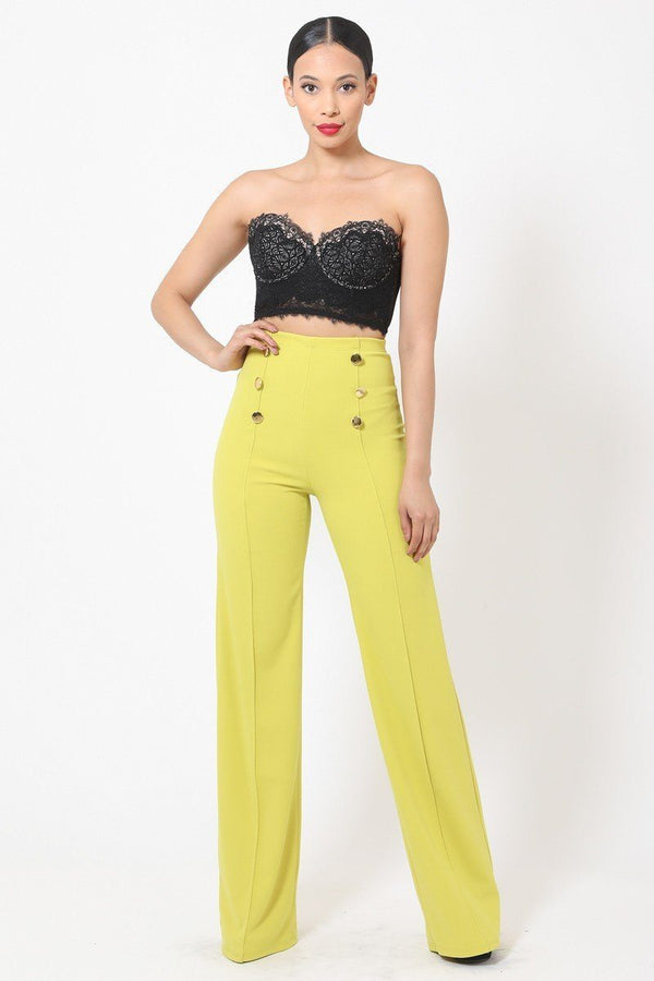 High-waist Crepe Pants With Buttons - Pinky Petals