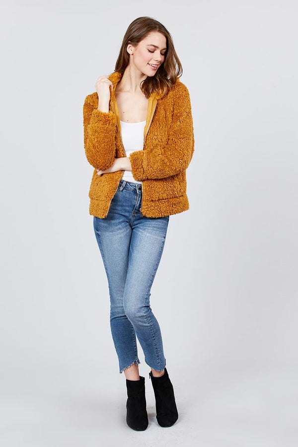 Hoodie Side Pocket Faux Fur Zip-up Jacket demochatbot