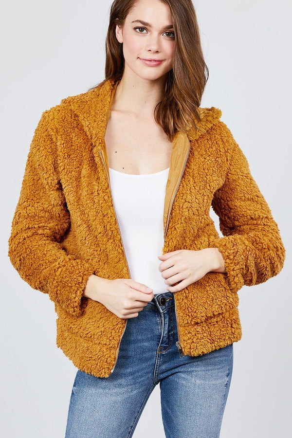 Hoodie Side Pocket Faux Fur Zip-up Jacket demochatbot Dusty Mustard S