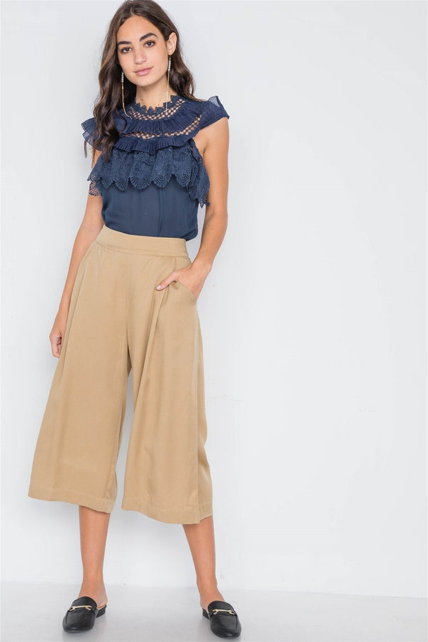 Khaki High Waist Cropped Wide Leg Pants - Pinky Petals
