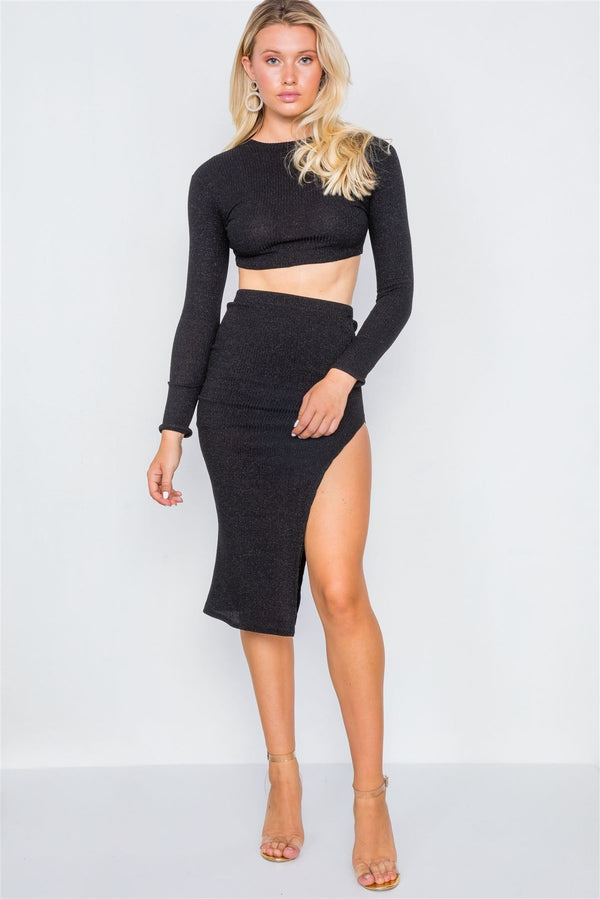 Knit Ribbed Two Piece Crop Top Skirt Set demochatbot