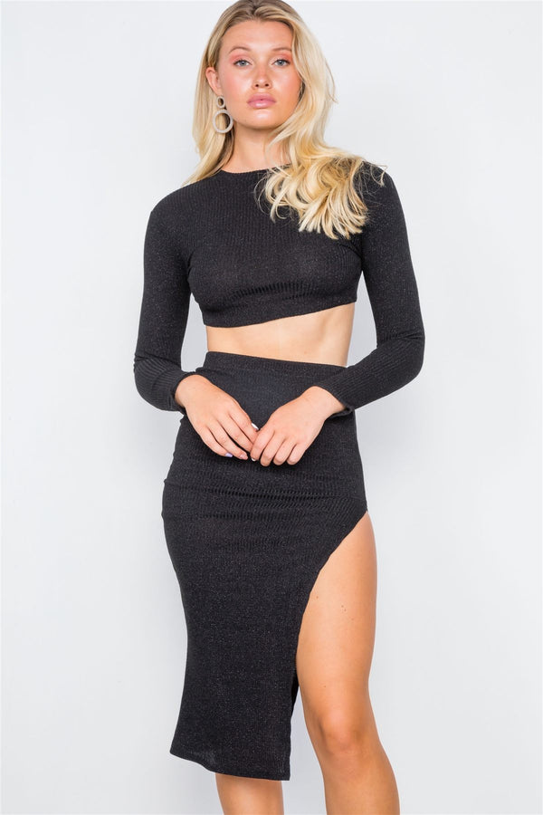 Knit Ribbed Two Piece Crop Top Skirt Set demochatbot Black S