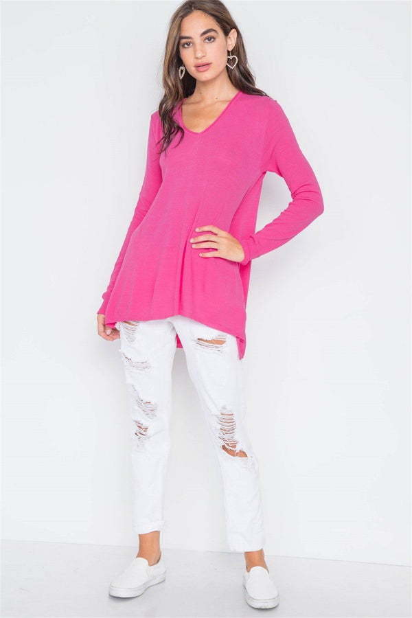 Knit V-neck Casual Solid Long Sleeve Sweater demochatbot