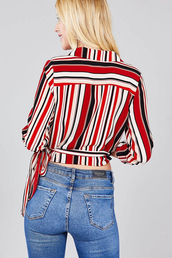 Ladies fashion 3/4 roll up sleeve surplice wrap w/side bow tie multi striped woven top demochatbot