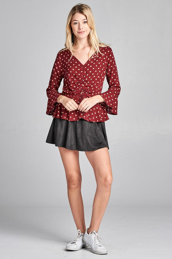 Ladies fashion 3/4 sleeve vneck w/shirring detail flared hem dot print woven top demochatbot
