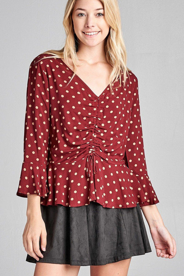 Ladies fashion 3/4 sleeve vneck w/shirring detail flared hem dot print woven top demochatbot Burgundy/Khaki S