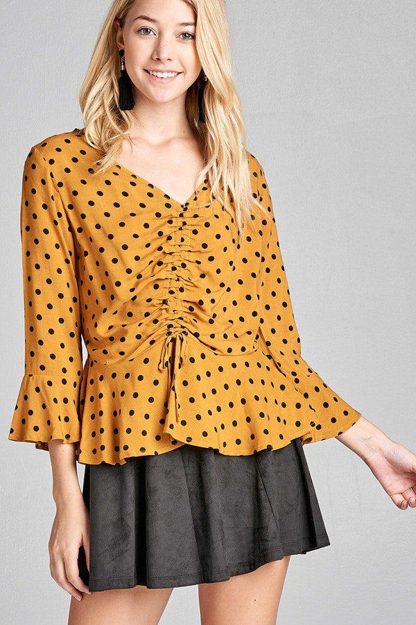 Ladies fashion 3/4 sleeve vneck w/shirring detail flared hem dot print woven top demochatbot Mustard/Black S