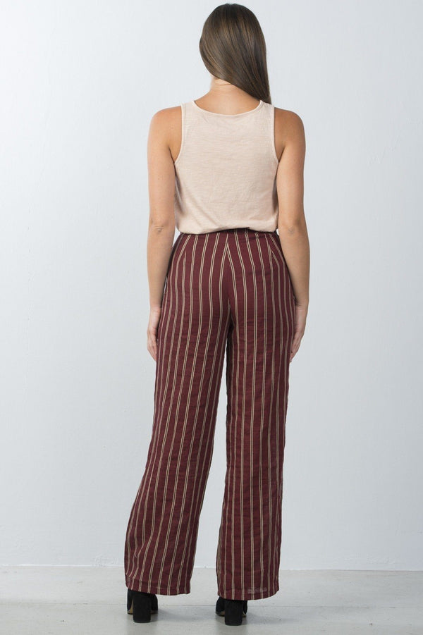 Ladies fashion high waisted stripe lace-up wide-leg pants demochatbot
