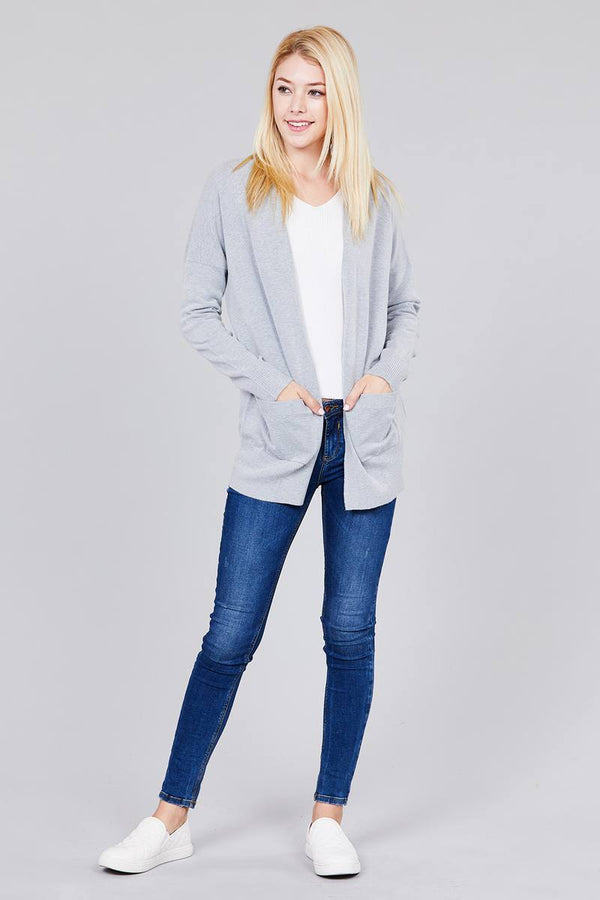 Ladies fashion long dolmen sleeve open front w/pocket sweater cardigan demochatbot