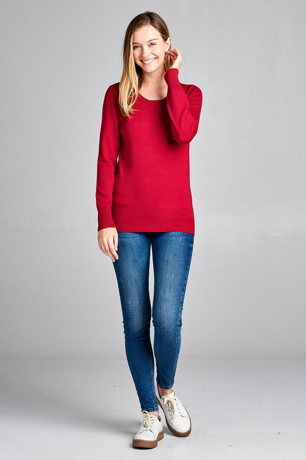 Ladies fashion long sleeve crew neck classic sweater demochatbot