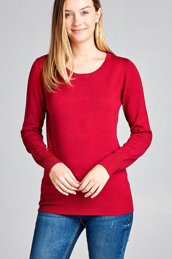 Ladies fashion long sleeve crew neck classic sweater demochatbot Dark Red S
