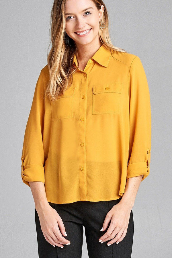 Ladies fashion long sleeve front pocket chiffon blouse w/ back button detail demochatbot Gold Mustard S