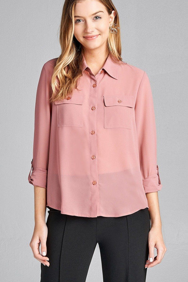 Ladies fashion long sleeve front pocket chiffon blouse w/ back button detail demochatbot Rosy Pink S