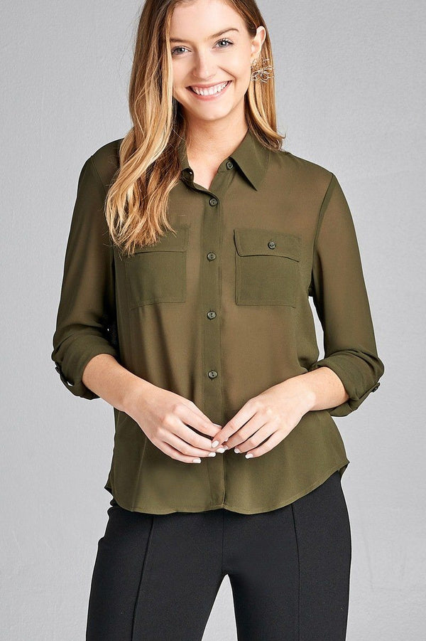 Ladies fashion long sleeve front pocket chiffon blouse w/ back button detail demochatbot True Olive S