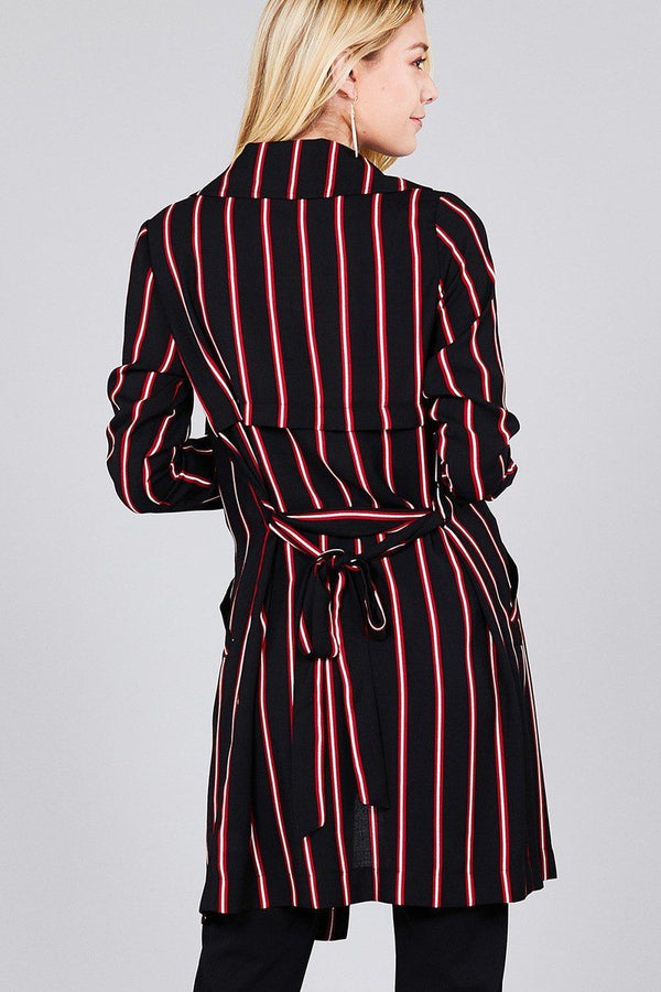 Ladies fashion long sleeve notched collar w/waist belt multi striped long woven jacket demochatbot