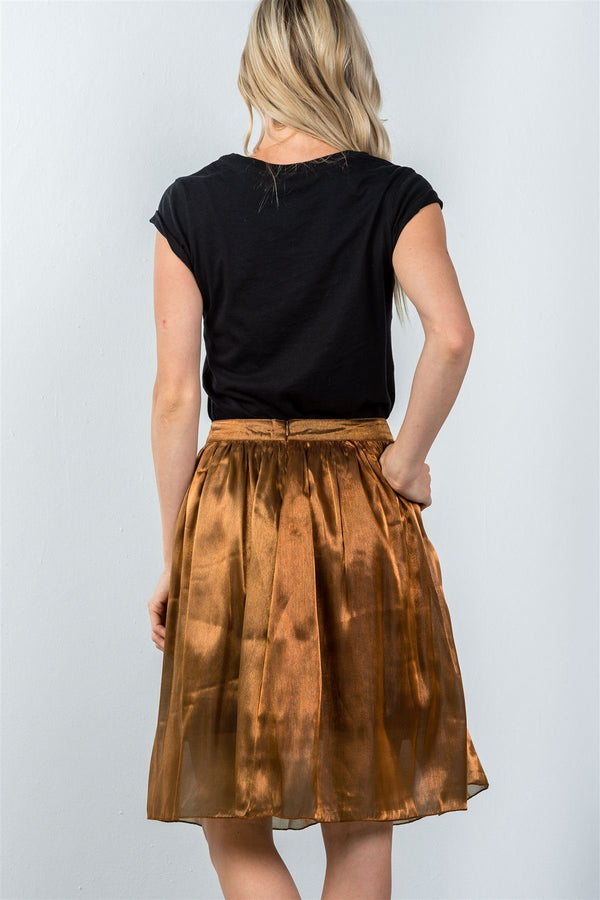 Ladies fashion mid length high waisted bronze pleated midi skirt demochatbot