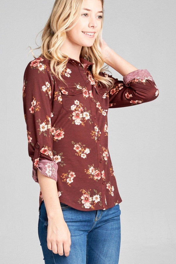 Ladies fashion plus size 3/4 roll up sleeve front pocket detail flower print stretch knit shirts demochatbot