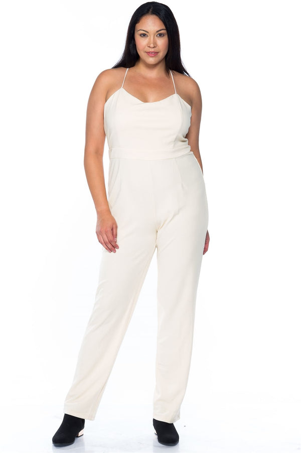 Ladies fashion plus size ivory thin straps v neck x cross back zipper jumpsuit demochatbot