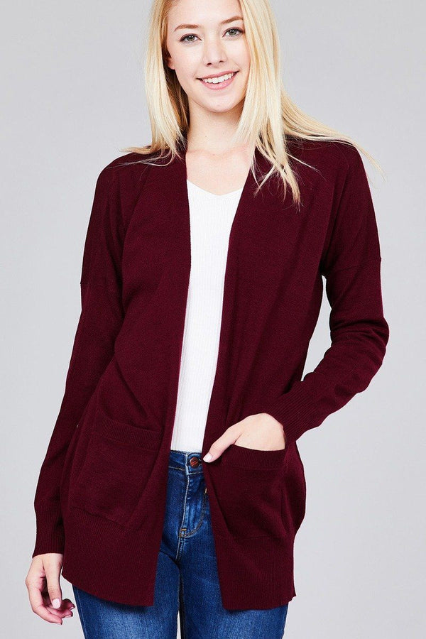 Ladies fashion plus size long dolmen sleeve open front w/pocket sweater cardigan demochatbot