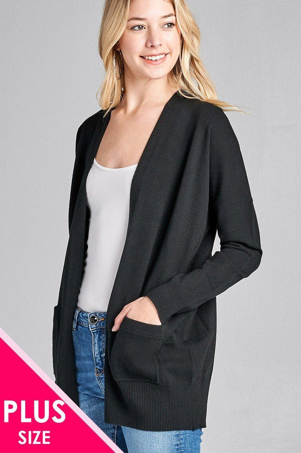 Ladies fashion plus size long dolmen sleeve open front w/pocket sweater cardigan demochatbot Black 1XL