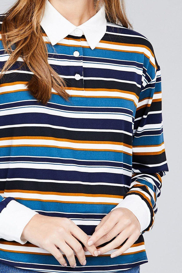 Ladies fashion plus size long sleeve multi striped dty brushed shirts demochatbot