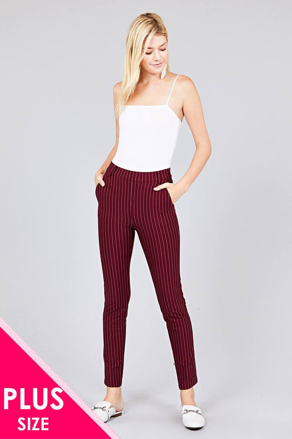 Ladies fashion plus size waist elastic stripe knit pants demochatbot Burgundy 1XL