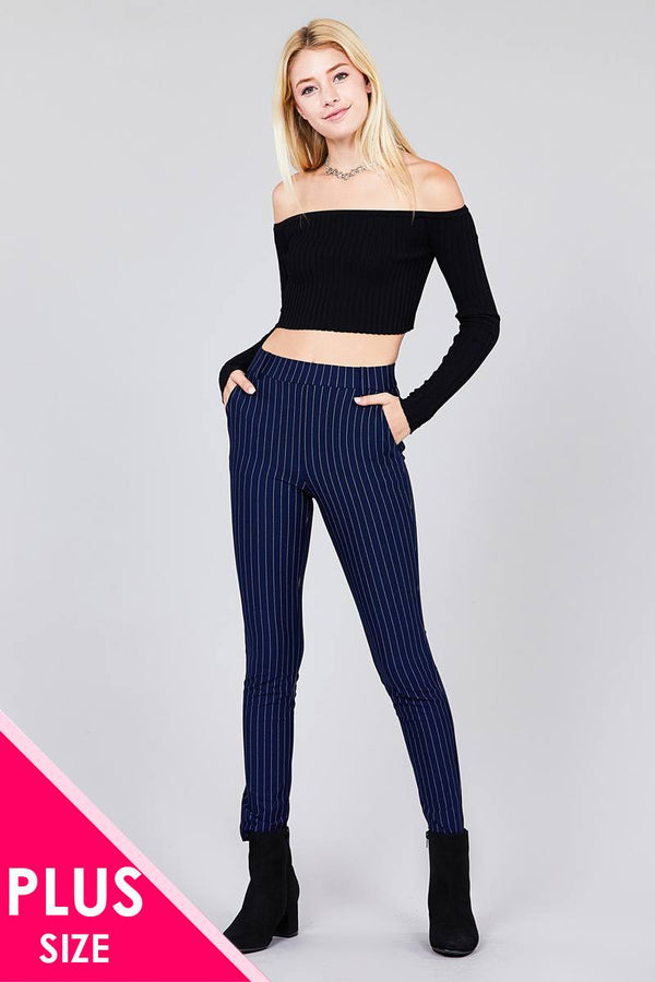Ladies fashion plus size waist elastic stripe knit pants demochatbot Navy XL