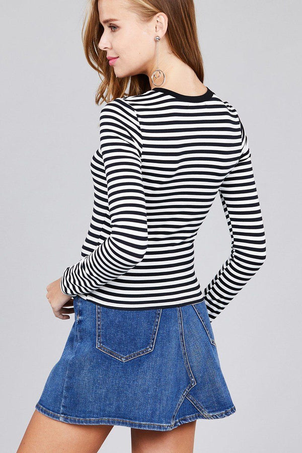 Ladies fashion plus sizelong sleeve crew neck striped dty brushed top demochatbot