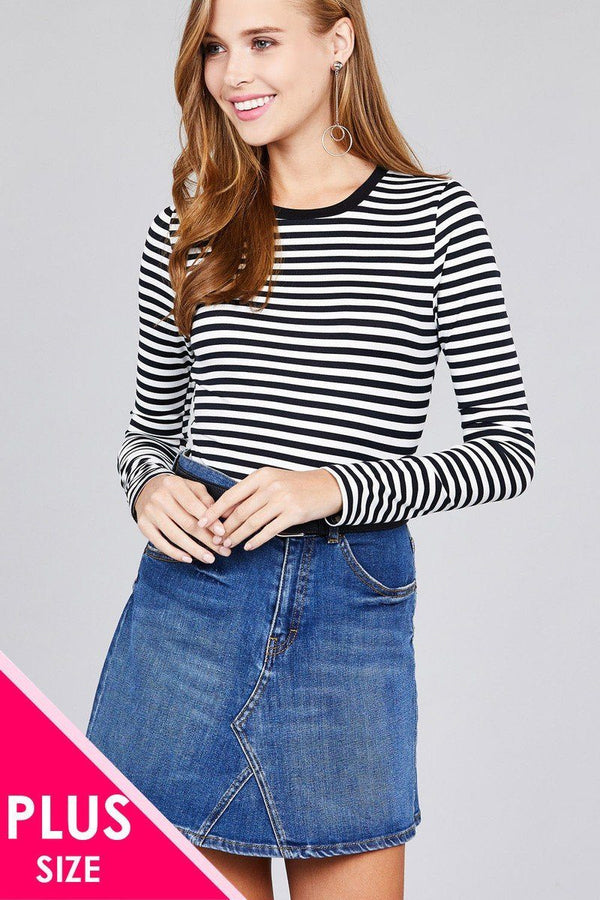 Ladies fashion plus sizelong sleeve crew neck striped dty brushed top demochatbot Black/Off White 1XL