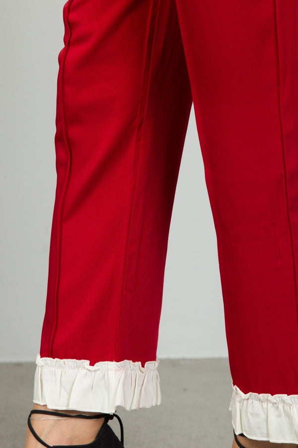 Ladies fashion red contrast ruffle hem ankle pants demochatbot