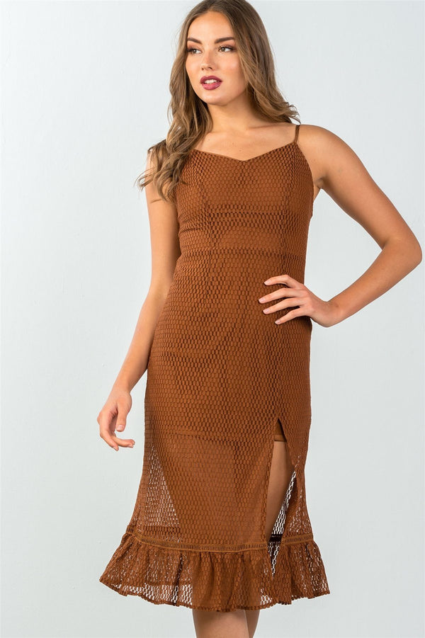 Ladies fashion ruffle hem sheer mesh crochet leg-slit midi dress demochatbot Brown S