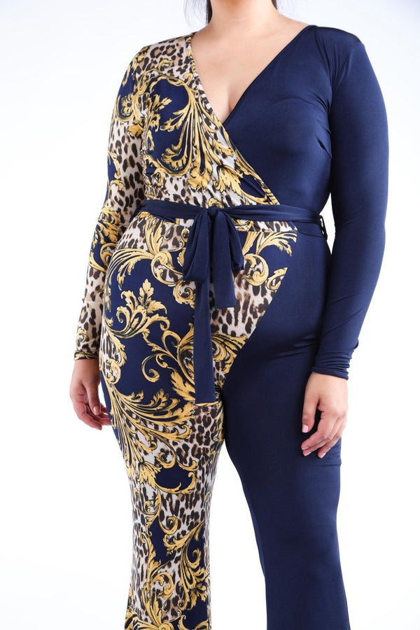 Leopard Paisley Printed Color Blocked Jumpsuit demochatbot