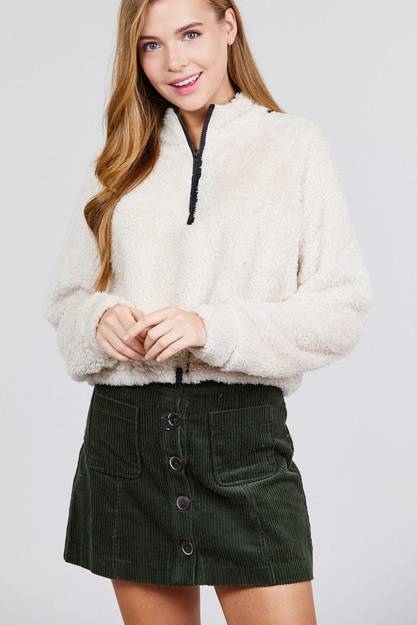 Long Dolman Sleeve Mock Neck W/zipper Detail Toggle Elastic Hem Faux Fur Top demochatbot Cream S