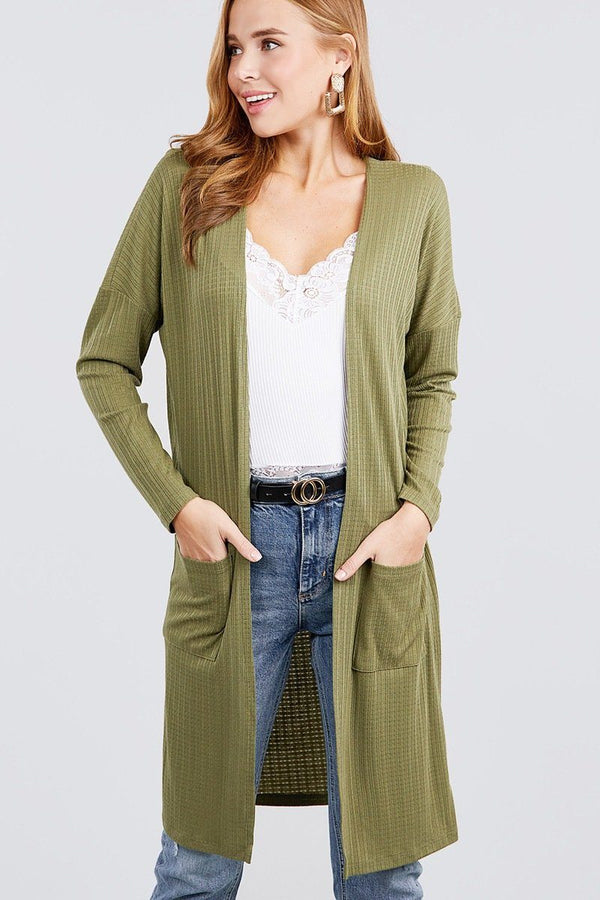 Long Dolman Sleeve Open Front W/pocket Pointelle Rib Long Cardigan demochatbot Olive S