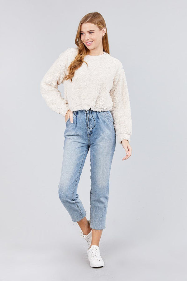 Long Dolman Sleeve Round Neck Toggle Elastic Hem Faux Fur Top demochatbot
